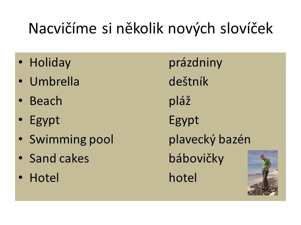Nacvičíme si několik nových slovíček Holidayprázdniny Umbrelladeštník Beachpláž EgyptEgypt Swimming poolplavecký bazén Sand cakesbábovičky Hotelhotel