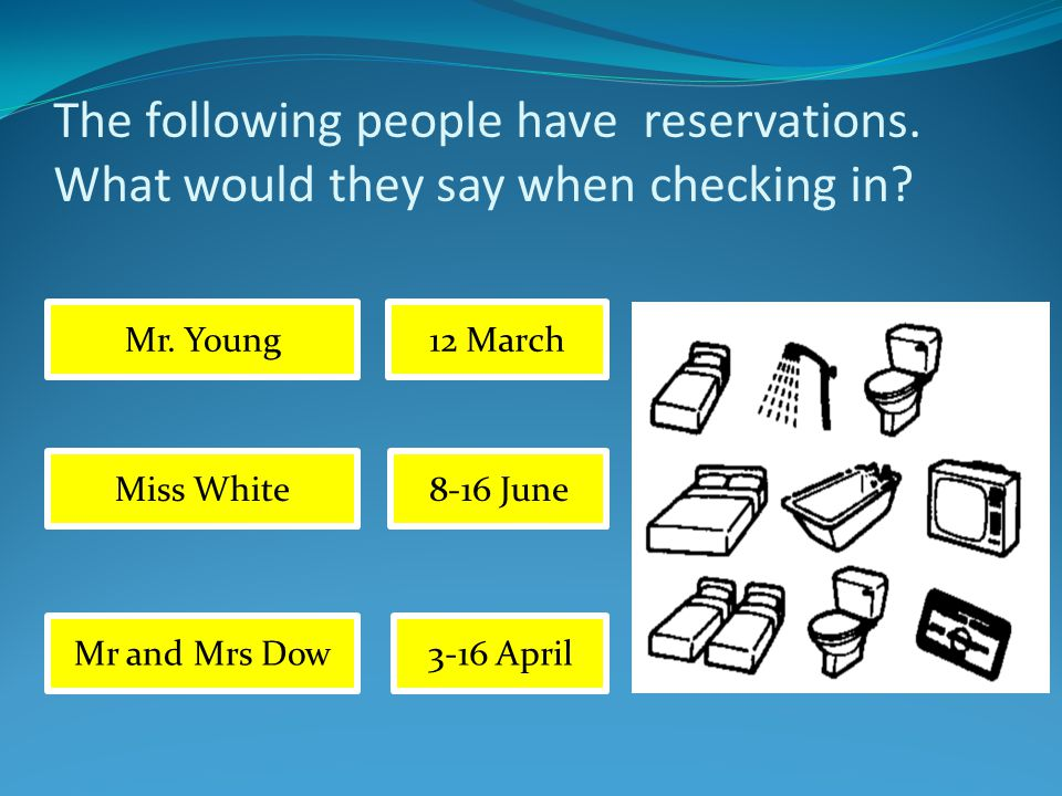 The following people have reservations. What would they say when checking in.