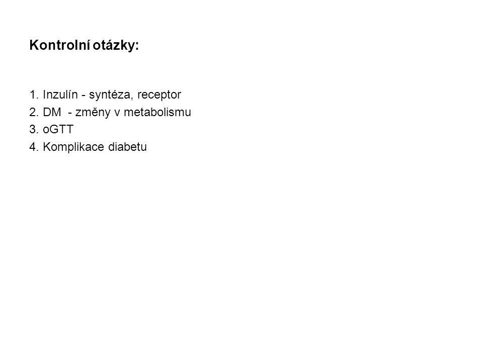 Kontrolní otázky: 1.Inzulín - syntéza, receptor 2.