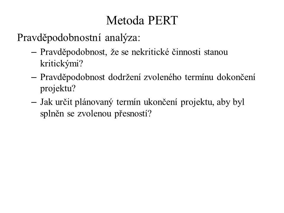 Metoda PERT Pravděpodobnostní analýza: – Pravděpodobnost, že se nekritické činnosti stanou kritickými? – Pravděpodobnost dodržení zvoleného termínu do