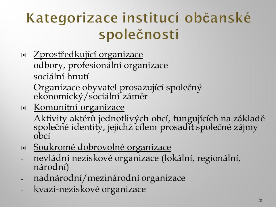 20  Zprostředkující organizace - odbory, profesionální organizace - sociální hnutí - Organizace obyvatel prosazující společný ekonomický/sociální zám