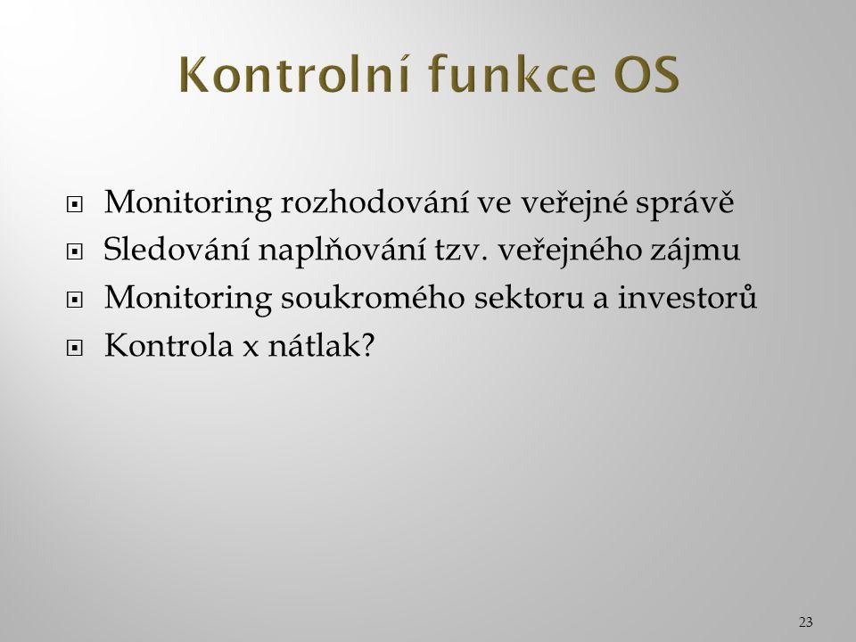 23  Monitoring rozhodování ve veřejné správě  Sledování naplňování tzv. veřejného zájmu  Monitoring soukromého sektoru a investorů  Kontrola x nát