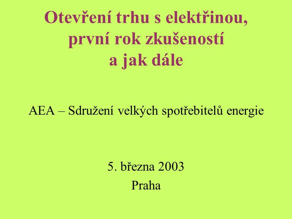 Otevření trhu s elektřinou, první rok zkušeností a jak dále AEA – Sdružení velkých spotřebitelů energie 5.