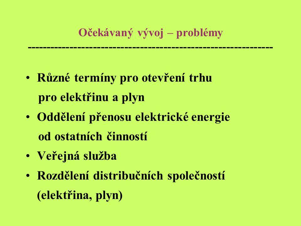 Očekávaný vývoj – problémy --------------------------------------------------------------- Různé termíny pro otevření trhu pro elektřinu a plyn Oddělení přenosu elektrické energie od ostatních činností Veřejná služba Rozdělení distribučních společností (elektřina, plyn)