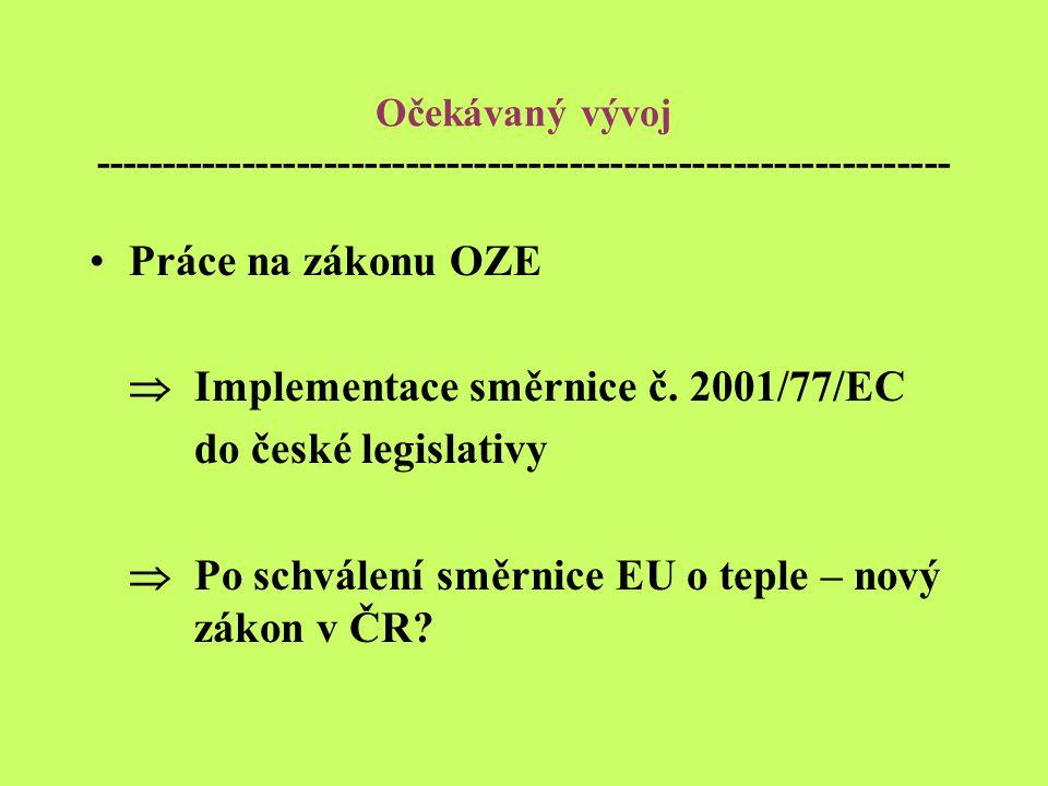 Očekávaný vývoj --------------------------------------------------------------- Práce na zákonu OZE  Implementace směrnice č.