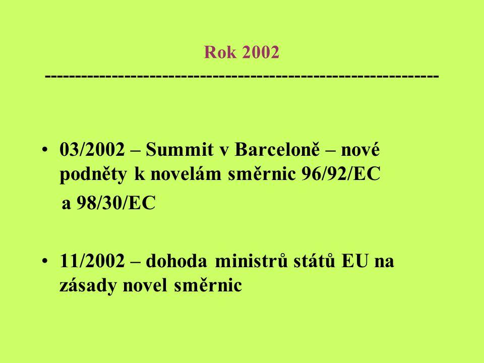 Rok 2002 --------------------------------------------------------------- 03/2002 – Summit v Barceloně – nové podněty k novelám směrnic 96/92/EC a 98/30/EC 11/2002 – dohoda ministrů států EU na zásady novel směrnic