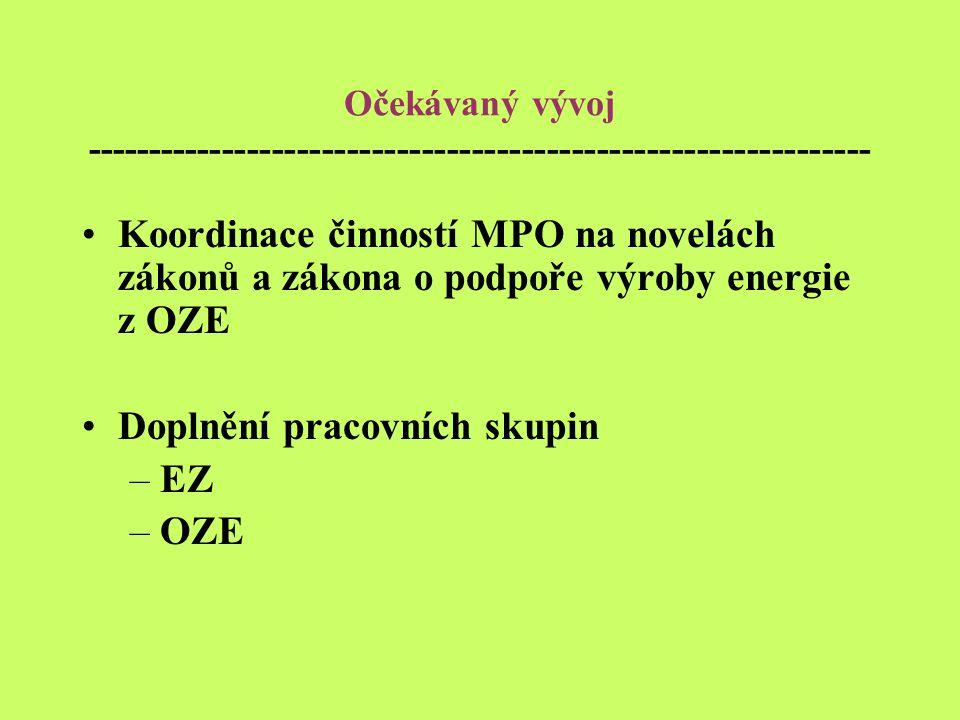 Očekávaný vývoj --------------------------------------------------------------- Koordinace činností MPO na novelách zákonů a zákona o podpoře výroby energie z OZE Doplnění pracovních skupin –EZ –OZE
