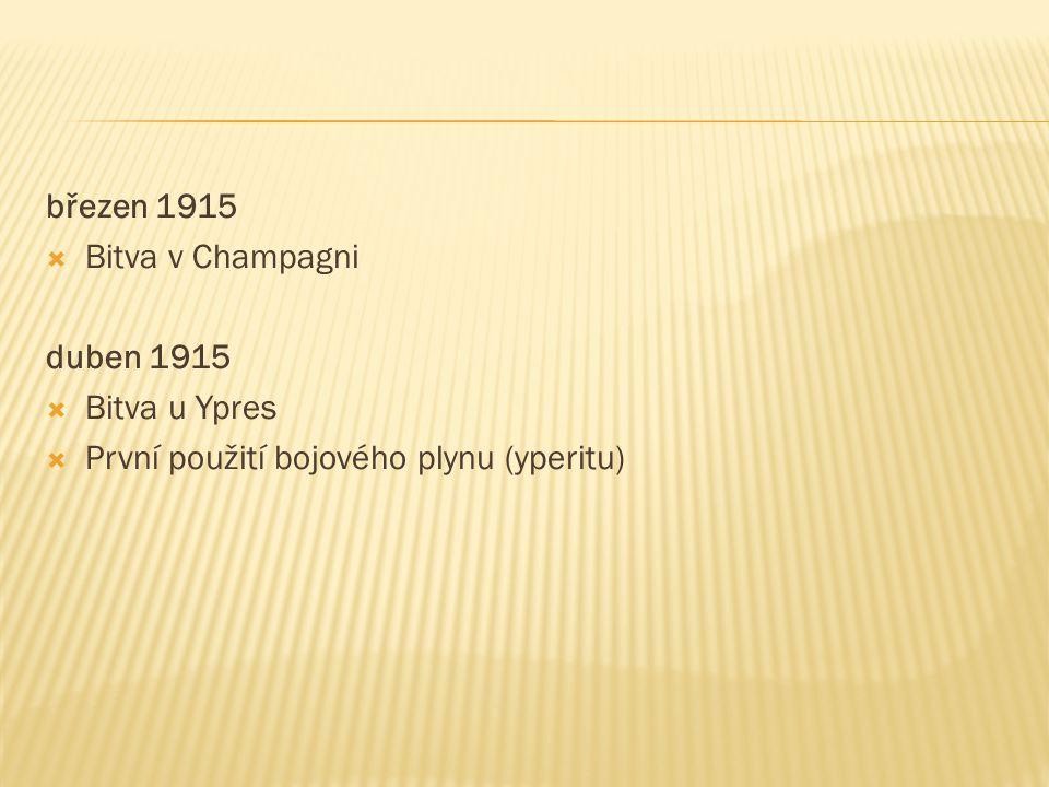 březen 1915  Bitva v Champagni duben 1915  Bitva u Ypres  První použití bojového plynu (yperitu)
