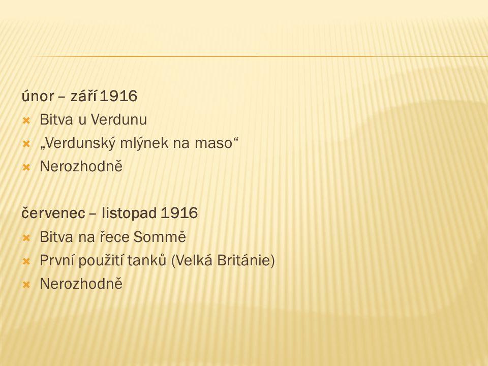 """únor – září 1916  Bitva u Verdunu  """"Verdunský mlýnek na maso  Nerozhodně červenec – listopad 1916  Bitva na řece Sommě  První použití tanků (Velká Británie)  Nerozhodně"""