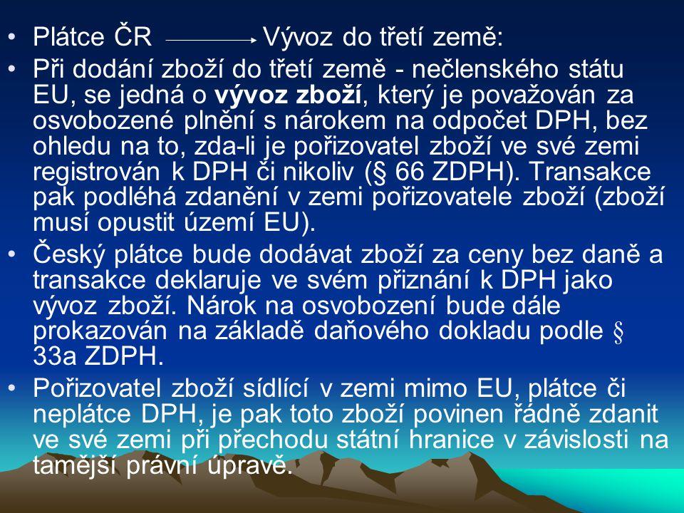 Plátce ČR Vývoz do třetí země: Při dodání zboží do třetí země - nečlenského státu EU, se jedná o vývoz zboží, který je považován za osvobozené plnění