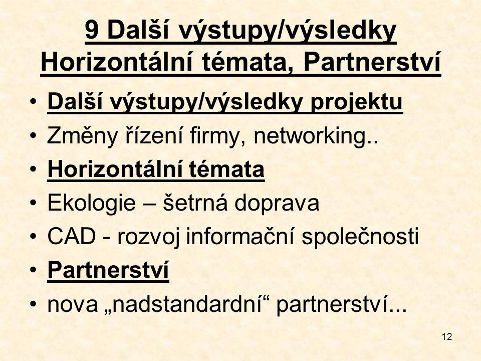 12 9 Další výstupy/výsledky Horizontální témata, Partnerství Další výstupy/výsledky projektu Změny řízení firmy, networking.. Horizontální témata Ekol