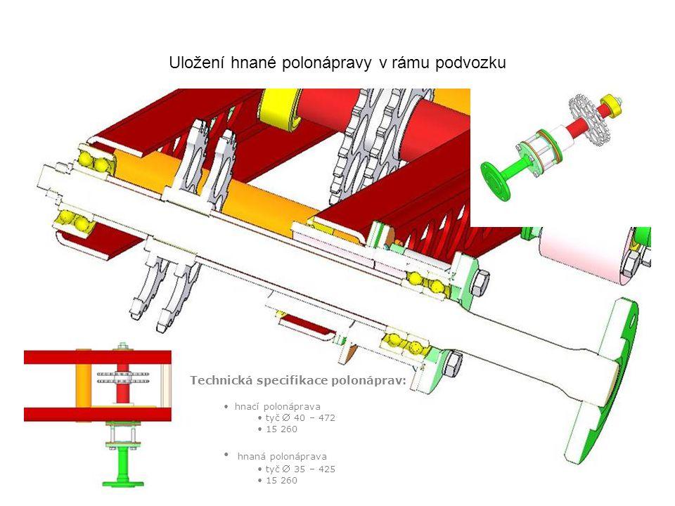 4 Uložení hnané polonápravy v rámu podvozku Technická specifikace polonáprav: hnací polonáprava tyč  40 – 472 15 260 hnaná polonáprava tyč  35 – 425 15 260
