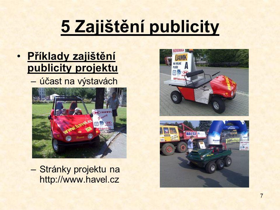 7 5 Zajištění publicity Příklady zajištění publicity projektu –účast na výstavách –Stránky projektu na http://www.havel.cz