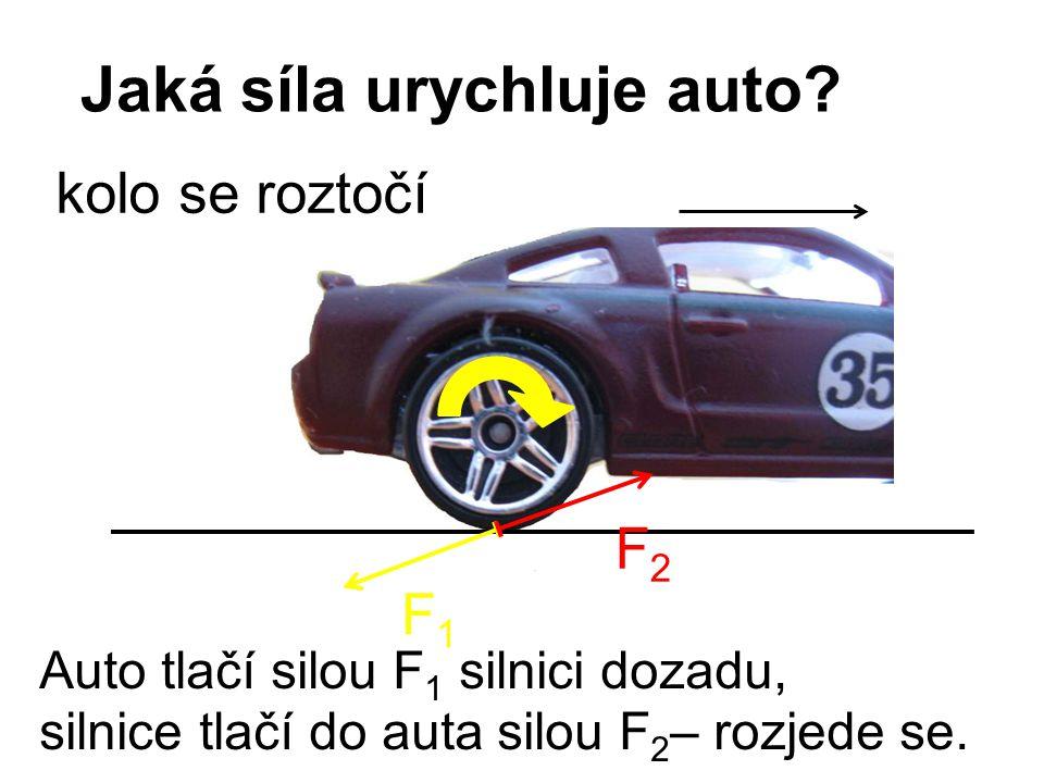 Jaká síla urychluje auto? F1F1 F2F2 Auto tlačí silou F 1 silnici dozadu, silnice tlačí do auta silou F 2 – rozjede se. kolo se roztočí