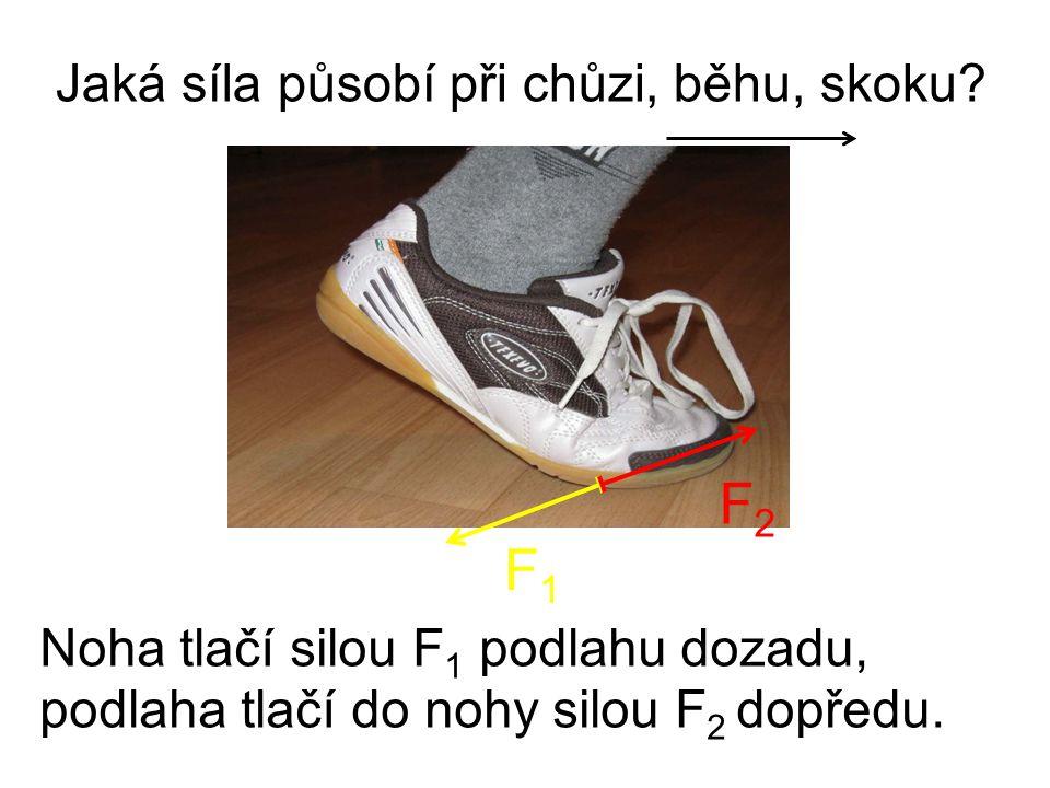 Jaká síla působí při chůzi, běhu, skoku? F1F1 F2F2 Noha tlačí silou F 1 podlahu dozadu, podlaha tlačí do nohy silou F 2 dopředu.