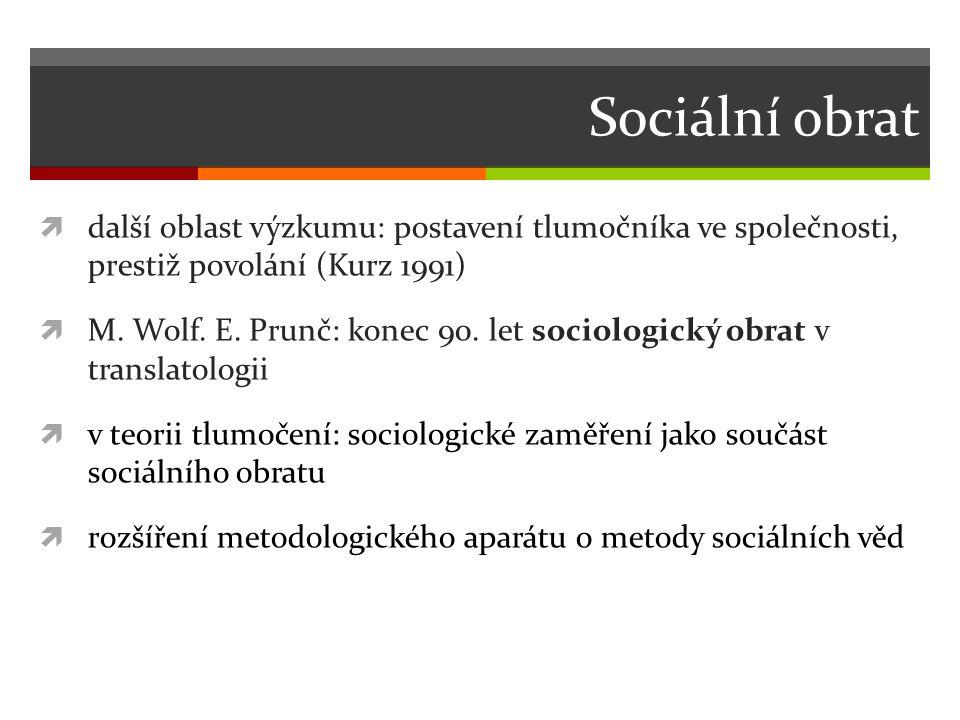 Sociální obrat  další oblast výzkumu: postavení tlumočníka ve společnosti, prestiž povolání (Kurz 1991)  M.