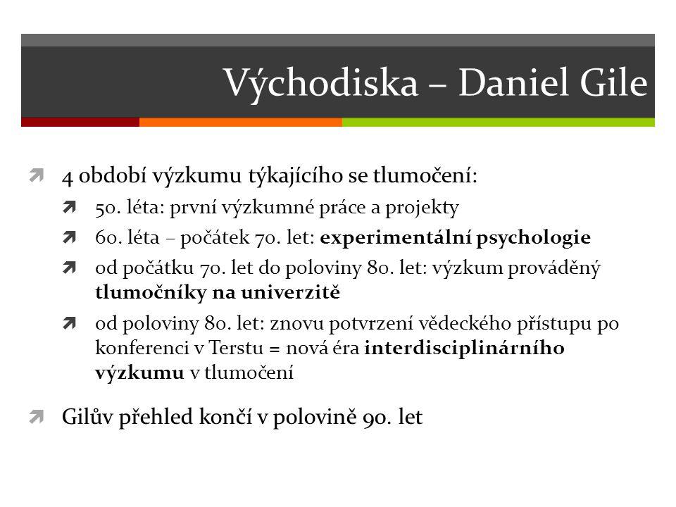 Východiska – Daniel Gile  4 období výzkumu týkajícího se tlumočení:  50.