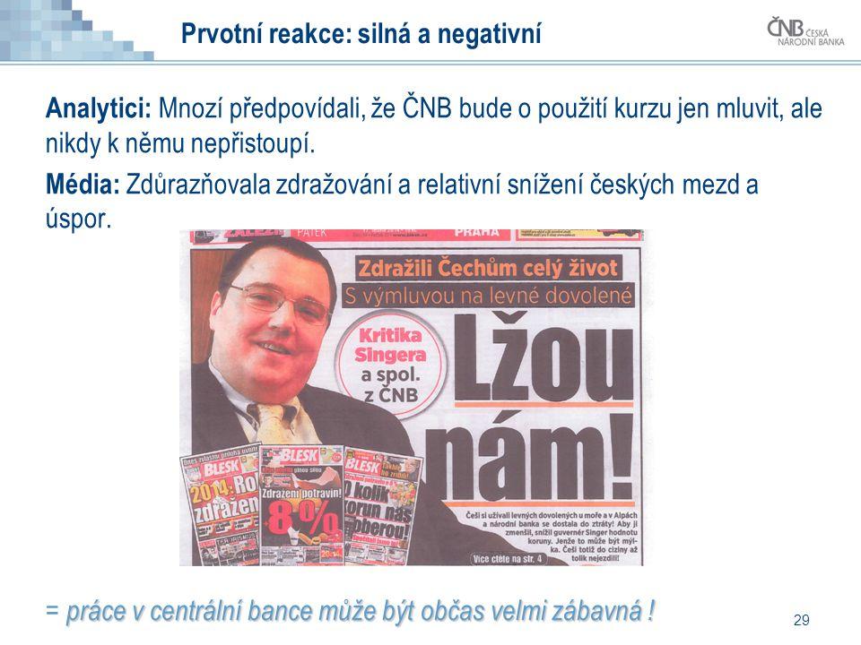 Analytici: Mnozí předpovídali, že ČNB bude o použití kurzu jen mluvit, ale nikdy k němu nepřistoupí.