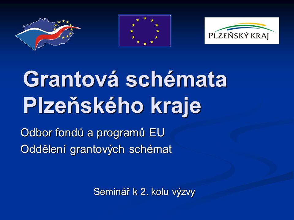 Grantová schémata Plzeňského kraje Odbor fondů a programů EU Oddělení grantových schémat Seminář k 2.