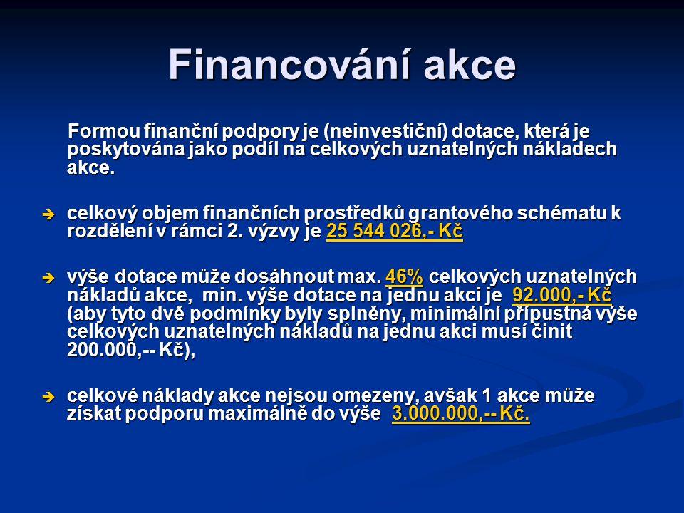 Financování akce Formou finanční podpory je (neinvestiční) dotace, která je poskytována jako podíl na celkových uznatelných nákladech akce.