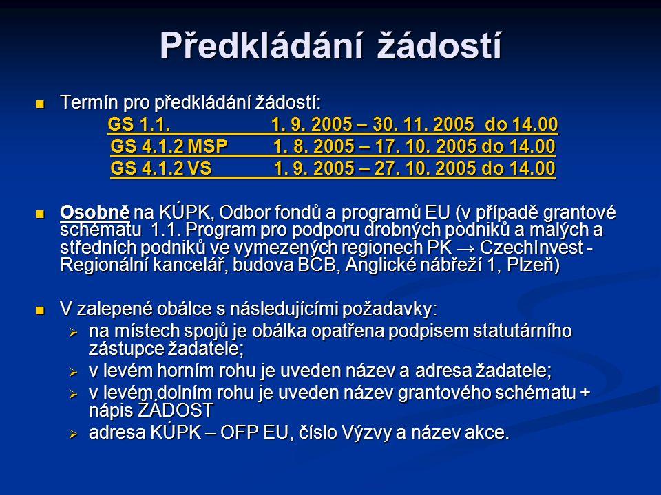 Předkládání žádostí Termín pro předkládání žádostí: Termín pro předkládání žádostí: GS 1.1.