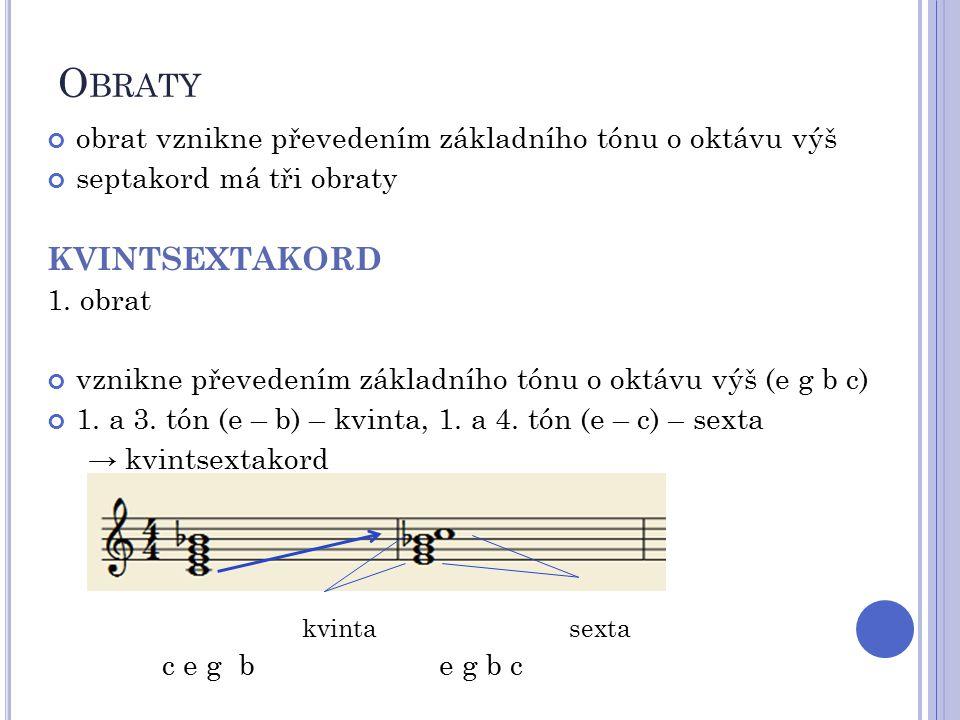O BRATY obrat vznikne převedením základního tónu o oktávu výš septakord má tři obraty KVINTSEXTAKORD 1. obrat vznikne převedením základního tónu o okt