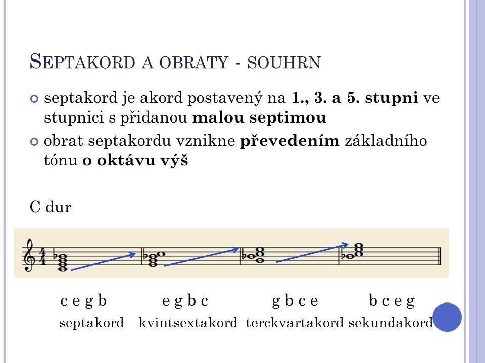 S EPTAKORD A OBRATY - SOUHRN septakord je akord postavený na 1., 3. a 5. stupni ve stupnici s přidanou malou septimou obrat septakordu vznikne převede