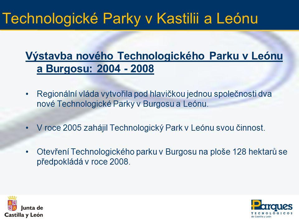 Technologické Parky v Kastilii a Leónu Výstavba nového Technologického Parku v Leónu a Burgosu: 2004 - 2008 Regionální vláda vytvořila pod hlavičkou jednou společnosti dva nové Technologické Parky v Burgosu a Leónu.