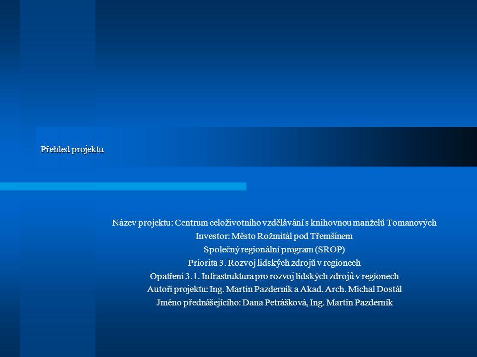 Přehled projektu Název projektu: Centrum celoživotního vzdělávání s knihovnou manželů Tomanových Investor: Město Rožmitál pod Třemšínem Společný regionální program (SROP) Priorita 3.
