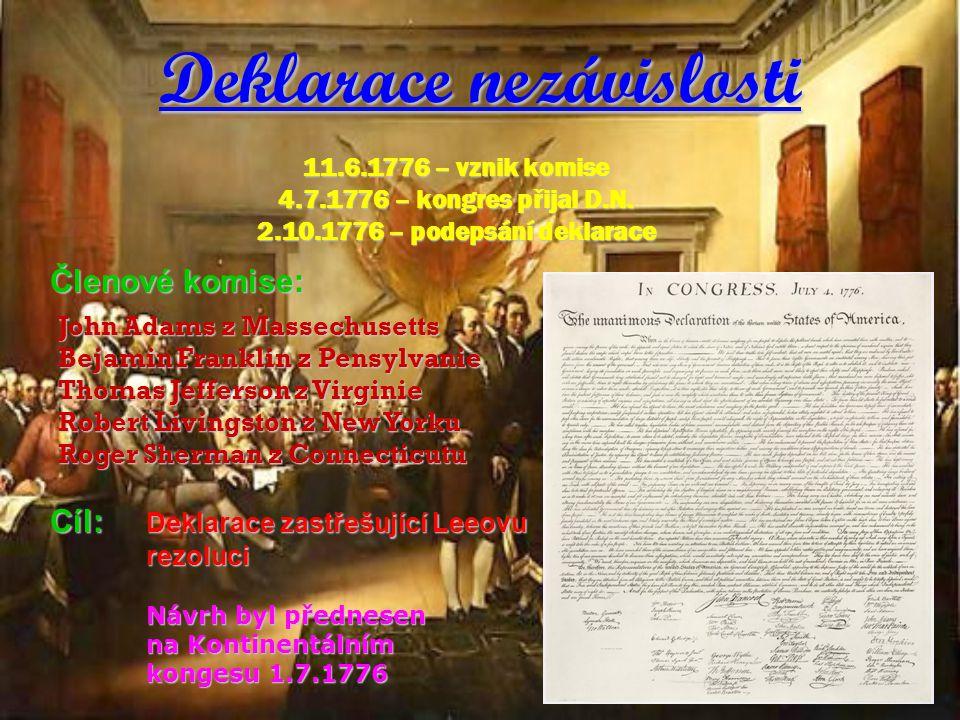 Deklarace nezávislosti 11.6.1776 – vznik komise 4.7.1776 – kongres přijal D.N. 2.10.1776 – podepsání deklarace John Adams z Massechusetts Bejamin Fran