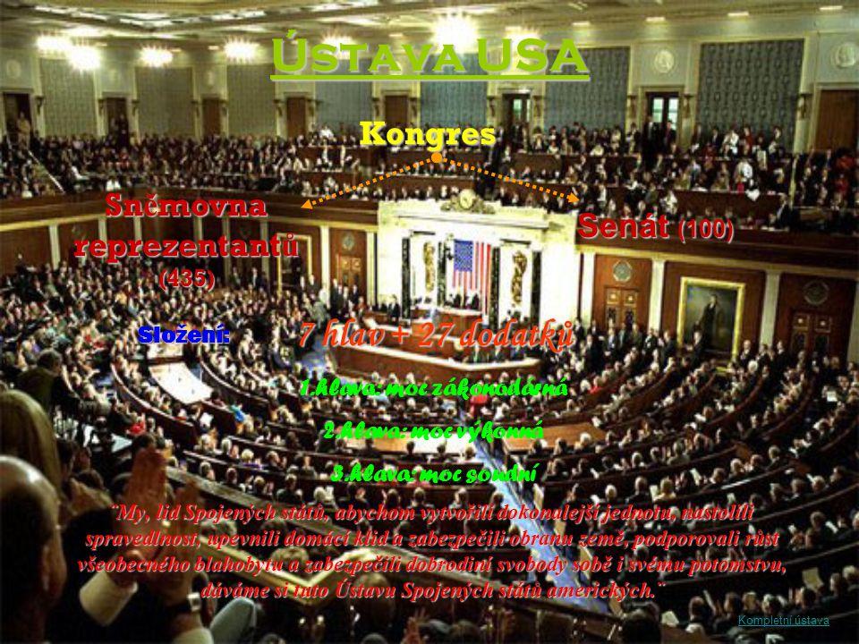 Ústava USA ¨My, lid Spojených států, abychom vytvořili dokonalejší jednotu, nastolili spravedlnost, upevnili domácí klid a zabezpečili obranu země, po