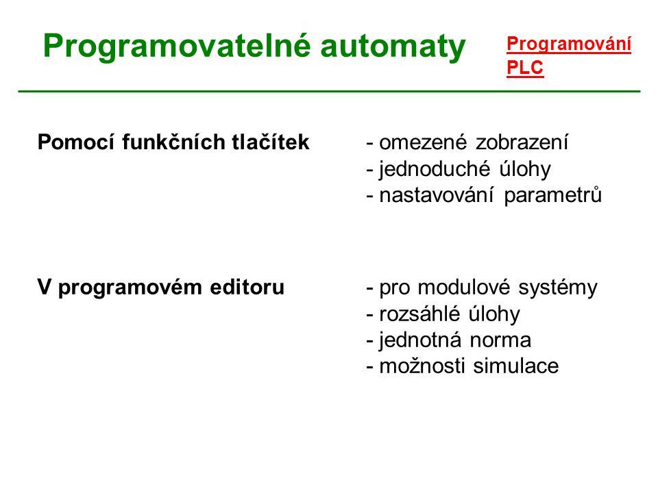 Programovatelné automaty Programování PLC Počet výrobců programovatelných automatů vedl k vzniku jednotné mezinárodní normy: IEC/EN 61131-3 1.část:základní informace o PLC 2.část: požadavky na provedení elektroniky PLC 3.část: - způsoby programování - syntaxe společných prvků programů - syntaxe čtyř jazyků (LD, FBD, IL, ST)