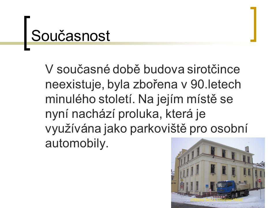 Současnost V současné době budova sirotčince neexistuje, byla zbořena v 90.letech minulého století.