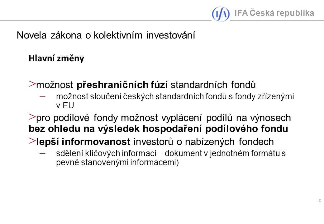 IFA Česká republika 4 > zjednodušení nabízení cenných papírů zahraničního standardního fondu v ČR a naopak – od okamžiku sdělení orgánu dohledu domovského státu (do 10 pracovních dnů) > větší variabilita podílových fondů – na dobu určitou i neurčitou > možnost struktury řídících a podřízených fondů, tzv.