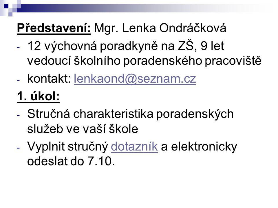 Představení: Mgr. Lenka Ondráčková - 12 výchovná poradkyně na ZŠ, 9 let vedoucí školního poradenského pracoviště - kontakt: lenkaond@seznam.czlenkaond