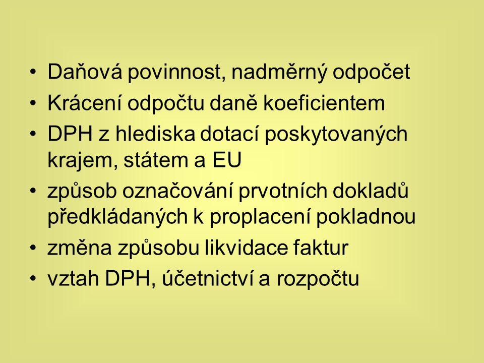 Daňová povinnost, nadměrný odpočet Krácení odpočtu daně koeficientem DPH z hlediska dotací poskytovaných krajem, státem a EU způsob označování prvotní