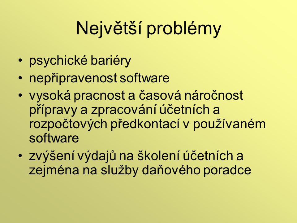 Největší problémy psychické bariéry nepřipravenost software vysoká pracnost a časová náročnost přípravy a zpracování účetních a rozpočtových předkonta