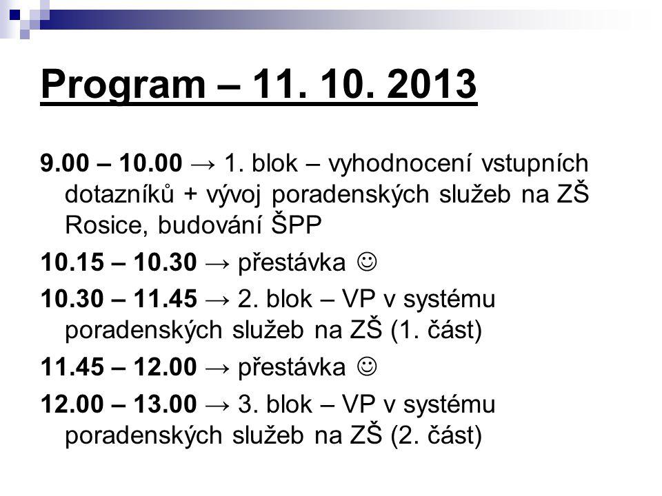 Program – 11. 10. 2013 9.00 – 10.00 → 1. blok – vyhodnocení vstupních dotazníků + vývoj poradenských služeb na ZŠ Rosice, budování ŠPP 10.15 – 10.30 →