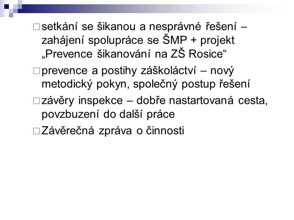 """ setkání se šikanou a nesprávné řešení – zahájení spolupráce se ŠMP + projekt """"Prevence šikanování na ZŠ Rosice""""  prevence a postihy záškoláctví – n"""