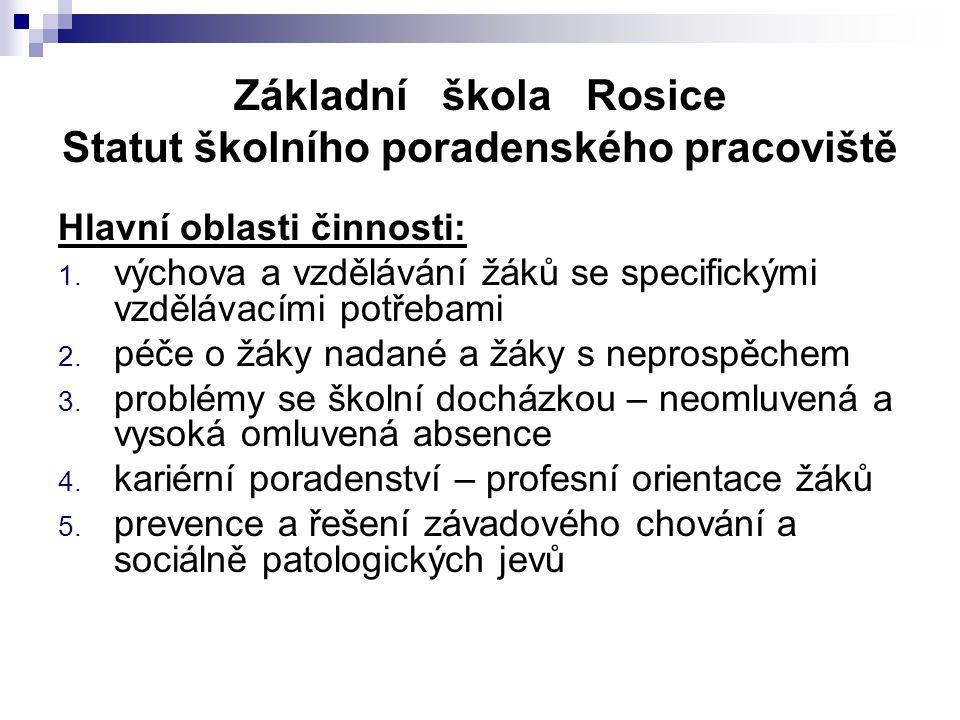 Základní škola Rosice Statut školního poradenského pracoviště Hlavní oblasti činnosti: 1. výchova a vzdělávání žáků se specifickými vzdělávacími potře