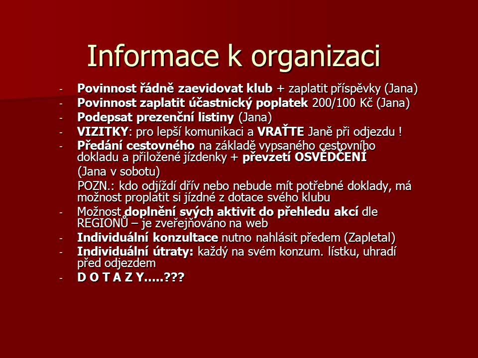Informace k organizaci - Povinnost řádně zaevidovat klub + zaplatit příspěvky (Jana) - Povinnost zaplatit účastnický poplatek 200/100 Kč (Jana) - Pode