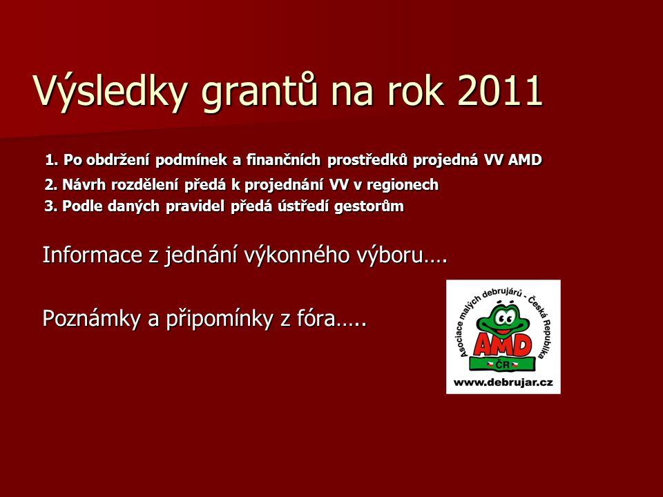 Výsledky grantů na rok 2011 1. Po obdržení podmínek a finančních prostředků projedná VV AMD 1. Po obdržení podmínek a finančních prostředků projedná V