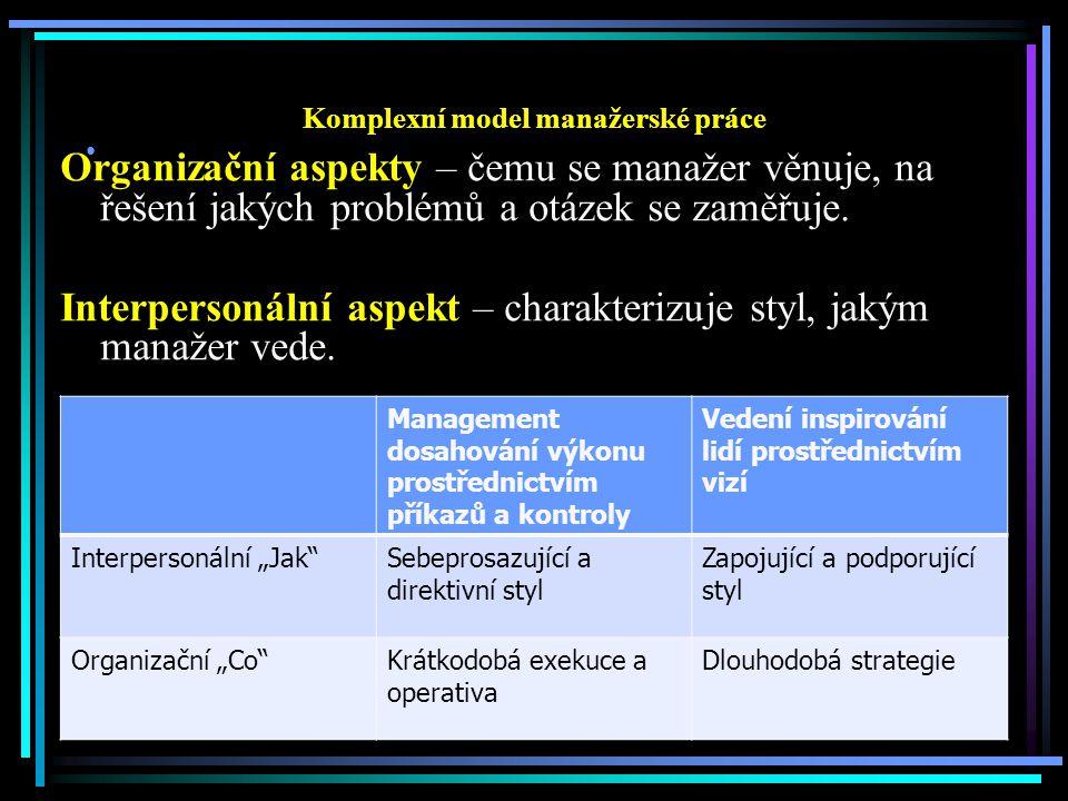 Komplexní model manažerské práce Organizační aspekty – čemu se manažer věnuje, na řešení jakých problémů a otázek se zaměřuje.