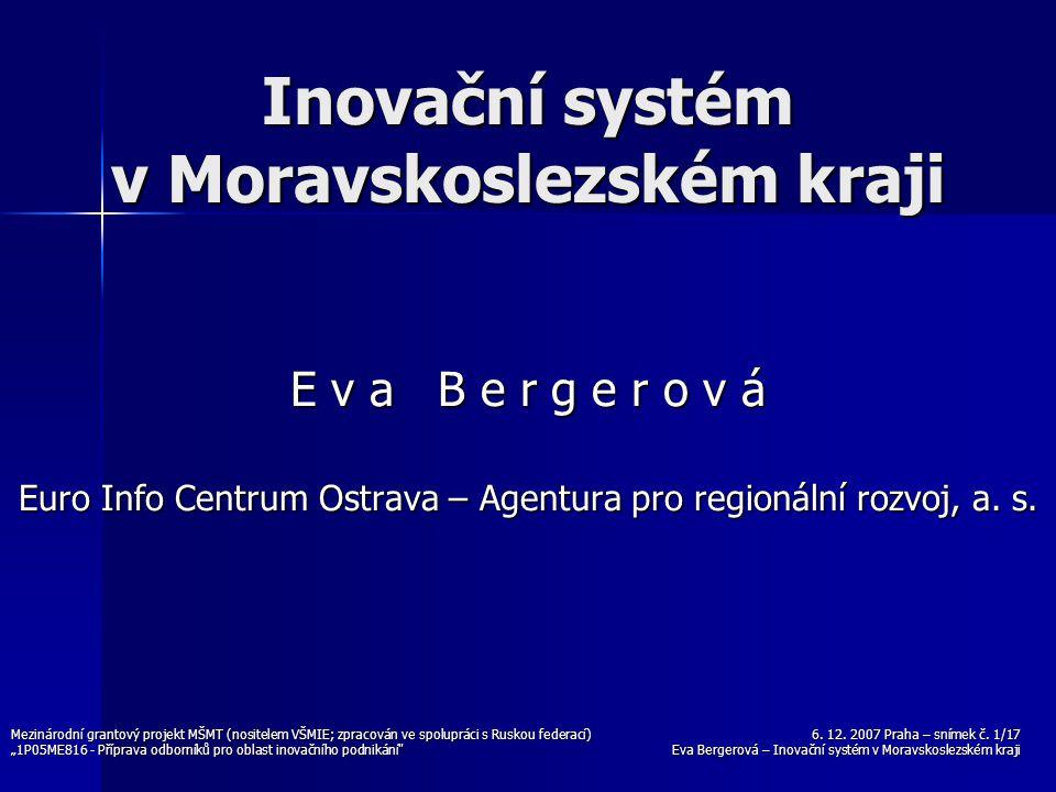 6. 12. 2007 Praha – snímek č. 1/17 Eva Bergerová – Inovační systém v Moravskoslezském kraji Mezinárodní grantový projekt MŠMT (nositelem VŠMIE; zpraco
