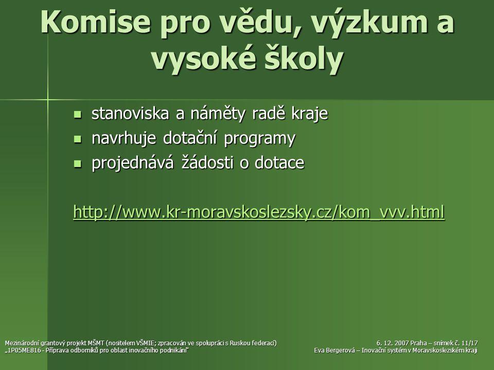 6. 12. 2007 Praha – snímek č. 11/17 Eva Bergerová – Inovační systém v Moravskoslezském kraji Mezinárodní grantový projekt MŠMT (nositelem VŠMIE; zprac