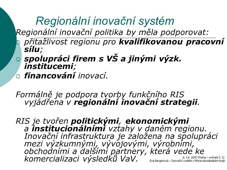 6. 12. 2007 Praha – snímek č. 3/ Eva Bergerová – Inovační systém v Moravskoslezském kraji Regionální inovační systém Regionální inovační politika by m
