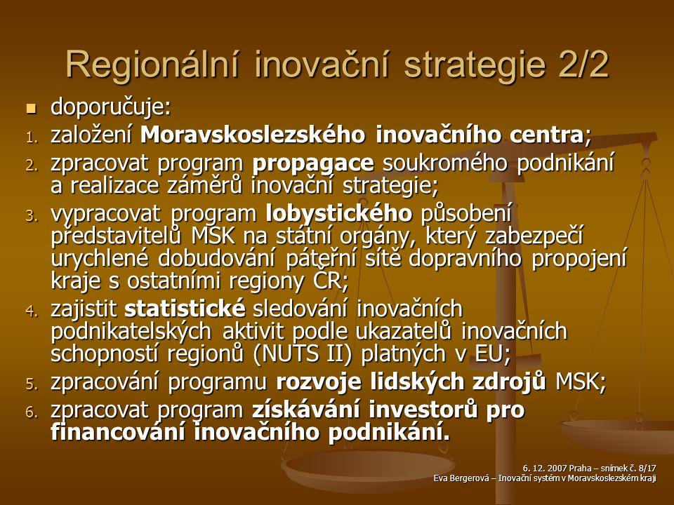 6. 12. 2007 Praha – snímek č. 8/17 Eva Bergerová – Inovační systém v Moravskoslezském kraji Regionální inovační strategie 2/2 doporučuje: doporučuje: