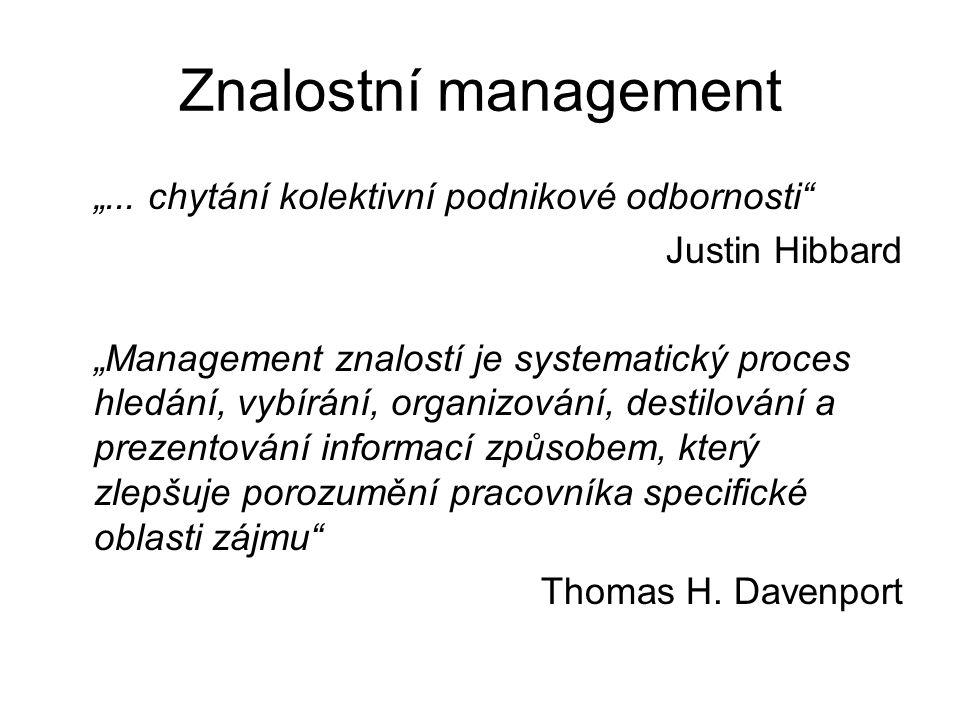 """Znalostní management """"... chytání kolektivní podnikové odbornosti"""" Justin Hibbard """"Management znalostí je systematický proces hledání, vybírání, organ"""