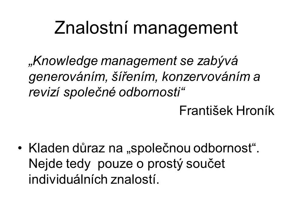 """Znalostní management """"Knowledge management se zabývá generováním, šířením, konzervováním a revizí společné odbornosti"""" František Hroník Kladen důraz n"""