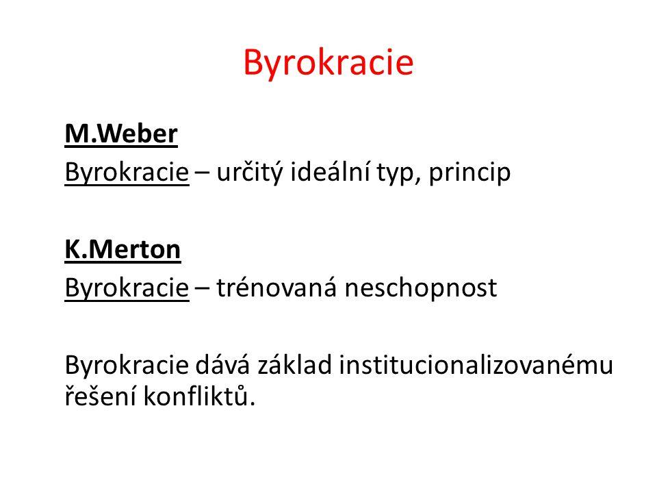 Byrokracie M.Weber Byrokracie – určitý ideální typ, princip K.Merton Byrokracie – trénovaná neschopnost Byrokracie dává základ institucionalizovanému řešení konfliktů.